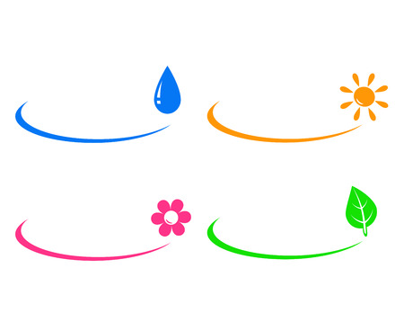 lighting equipment:   set icons of water drop, sun, flower and green leaf and place for text