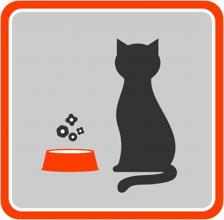 cat silhouette:  black cat silhouette and feed icon in frame
