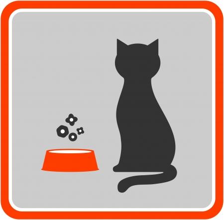 silueta de gato: silueta y piensos icono del gato negro en el marco Vectores