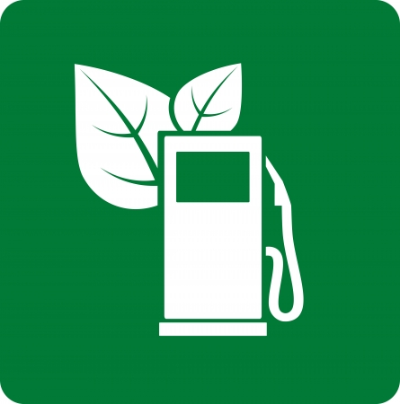 abstract green gas station icon with leaves Vector