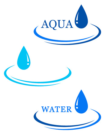 set van abstracte achtergronden met water neerzetten teken Stock Illustratie