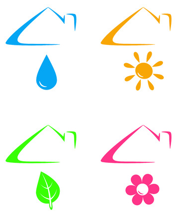 colorful icons under house roof with sun, flower, drop and leaf