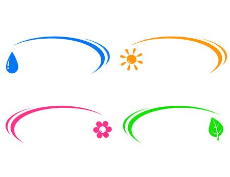 set van kleurrijke pictogrammen met zon, water drop, blad en bloem met plaats voor tekst