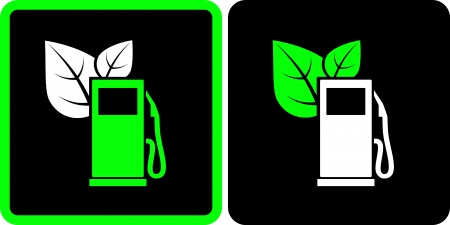 two signs with green gas station on black background Vector
