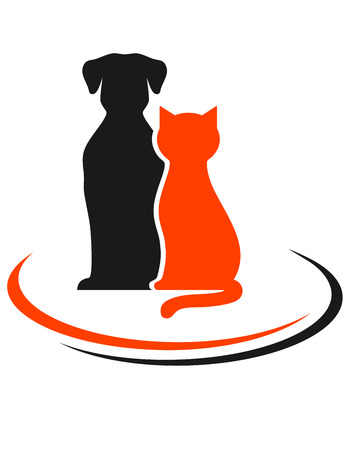 veterinary sign with black dog and red cat silhouettes Vector
