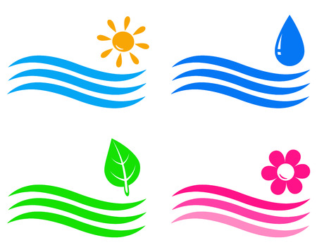 solarium:  set of colorful travel and landscaping icons with wave, water drop,leaf, flower
