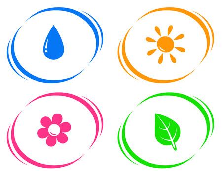ronde iconen met een druppel water, zon, bloem en groen blad op witte achtergrond Stock Illustratie