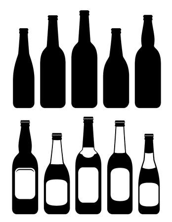 set van geïsoleerde bier flessen op witte achtergrond met label Stock Illustratie