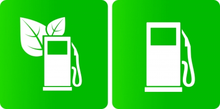 bio fuel:  two bio gas station icons with green leaves