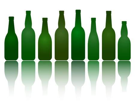 isolated green transparent beer glass bottles with shadow Vector
