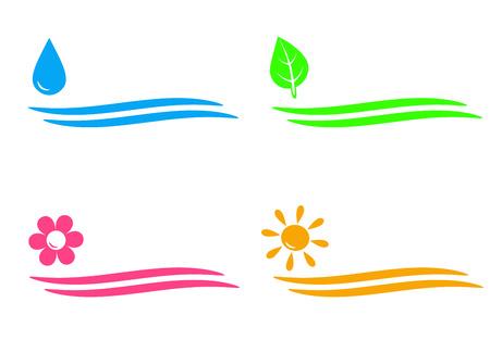 natuurlijke iconen met water neerzetten, zon, bloem en blad op witte achtergrond