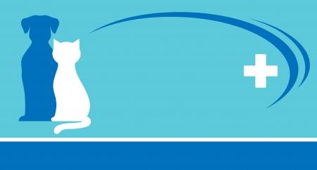 fondo veterinario azul y mascotas siluetas con la cruz blanca