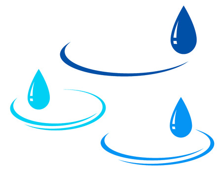 drinkable:   set of water backgrounds with glossy blue drop