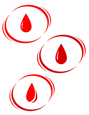 set of red blood drops with decorative elements