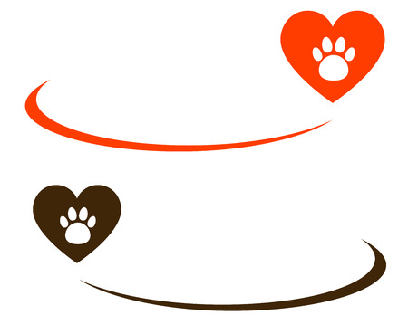background with heart, paw and blank place for text Vector