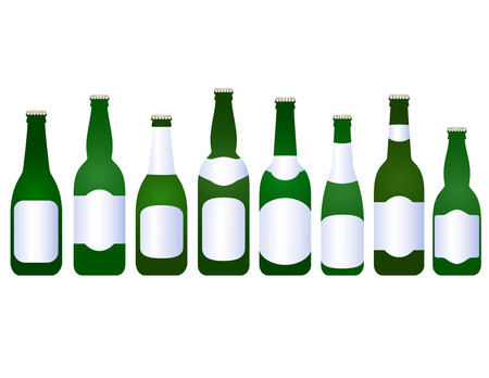 set of beer bottles with blank label on white background Vector