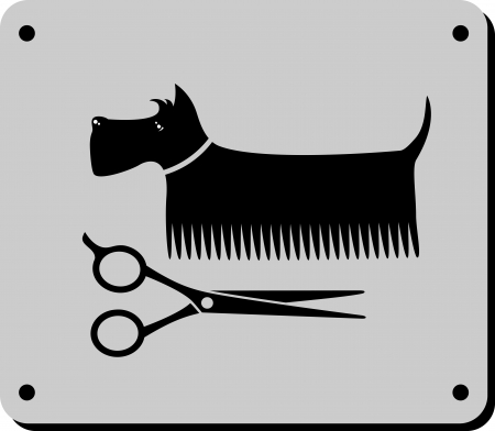 black grooming dog sign with scissors on grey background