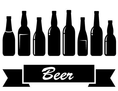 dark lager: set of black glossy isolated beer bottles on white background Illustration