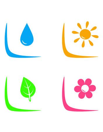 set van landschapsarchitectuur tekenen met water neerzetten, bloem, zon en blad op witte achtergrond