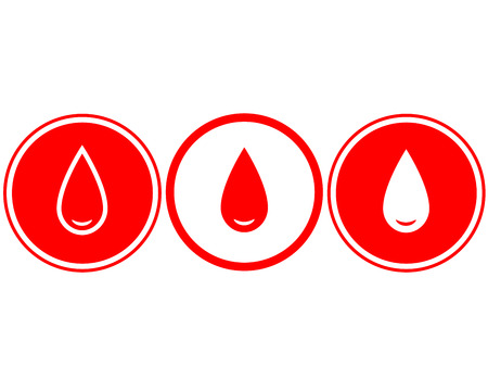 menstruation: simple red blood drop on white background