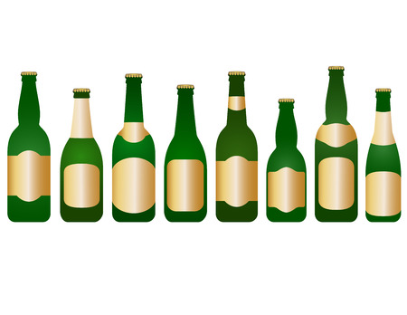 set glass beer bottles with blank label on white background Vector