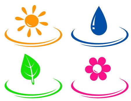 eco set met zon, water drop, bloem en blad objecten