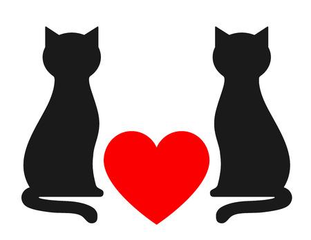 silueta gato: fondo con dos gatos y el corazón rojo Vectores