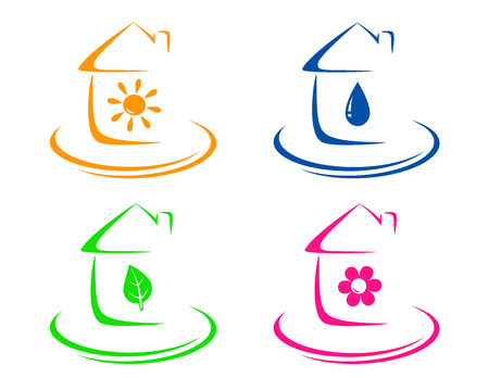 potable: water ,sun, leaf and flowers icons on white background