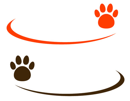 two backgrounds with colorful pet paw