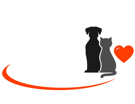 animals with red heart on white background