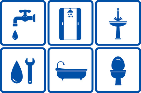 icons with isolated bath objects on white background