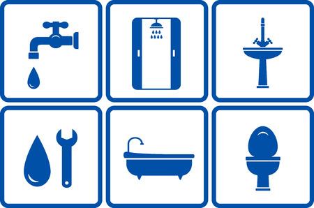cabine de douche: icônes avec des objets de bain isolées sur fond blanc