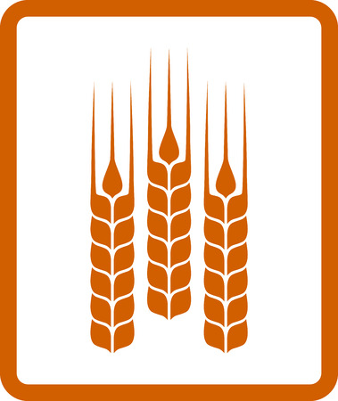 icon with yellow wheat ears on white background Stock Vector - 25252408