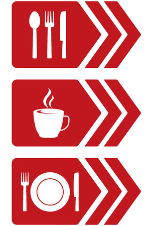 set of arrow with red food signs and utensil Vector