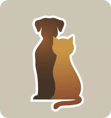 cat dog:  dog and cat silhouettes on light background