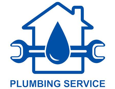 plumber with tools: signo de fontaner�a con gota de agua grande y una llave
