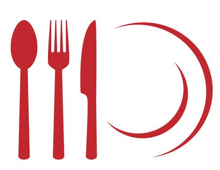 symbole de restaurant avec assiette, fourchette, couteau et cuillère Vecteurs
