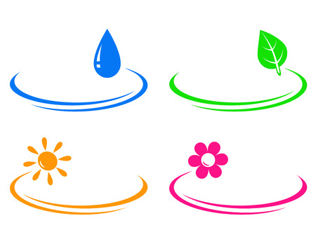 set of eco objects on white background with decorative line Illustration