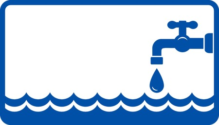 fontanería con la onda de agua azul y grifo Vectores