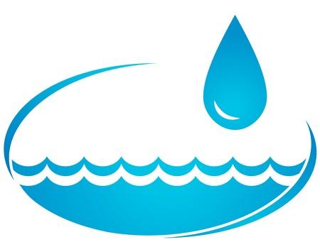 water wave and big blue drop Ilustração