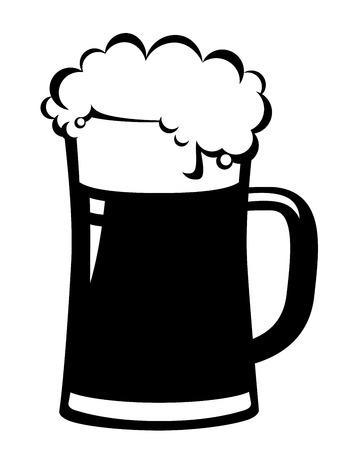 白地に黒ビールのジョッキ