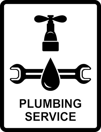 sanitary engineering: black icon of plumbing service with water drop and spanner Illustration