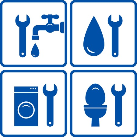 set of plumbing signs with wrench and bath icons