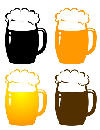 set with colorful beer mugs on white  Vector