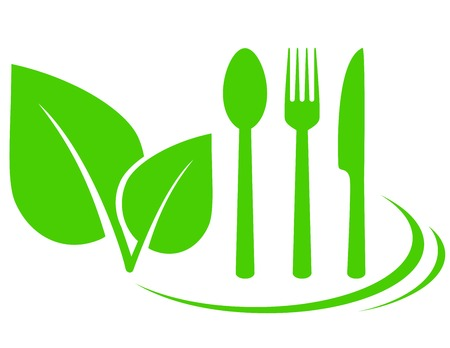 vegetarian icon with leaves and fork, spoon, knife Vector