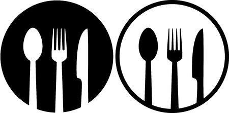 fork in the road: two restaurant sign with spoon, fork and knife
