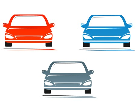 colorful cars on white background Vector