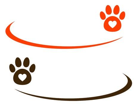 veterinario: línea decorativa con la pata en el fondo blanco