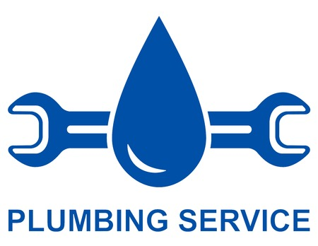 plumbing repair: icon with big blue water drop and plumbing wrench