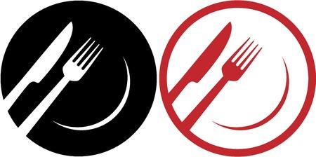 rot und schwarz abstrakte Symbole Restaurant Vektorgrafik